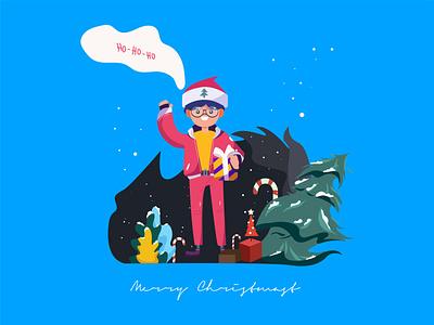 Merry Christmast minimal illustrator vector ui flat illustration design