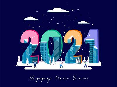 Happy New Year illustrator ui vector flat illustration design
