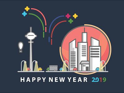 New Year 2019 design illustration flat