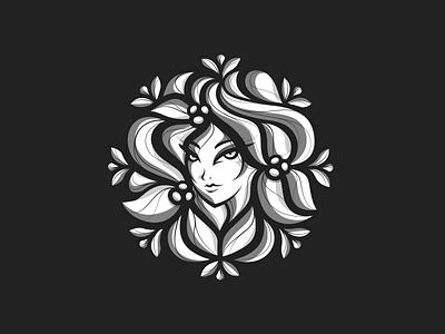 Oriental Floral flores painter artist muralist florist long hair eyes face profile bouquet sprout flower female women woman girl floral