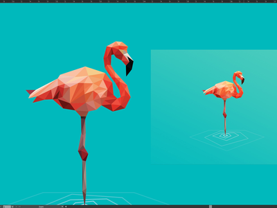 Flamingo Poly Logo Development  |  GIF poly flamingo logo bird triangles geometric 3d polygon mesh mark gif process development poly bird