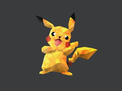 Pikachu Polymon  poly pikachu logo pokemon triangles geometric 3d polygon mesh mark