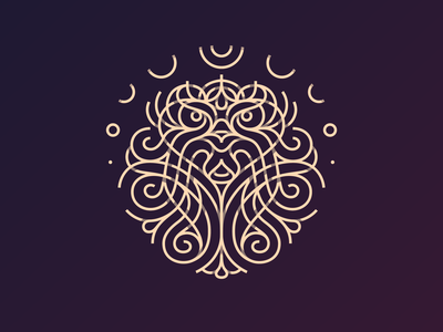 Lined Lion celtic knot celtic knitted knitting knot macrame front curvy fur hair beauty astro symmetry lines wild animal lion logo lion