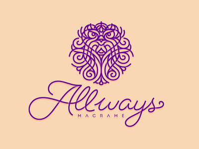 Allways Macrame Logo vector branding illustration logo jewelry leon symbol symmetry typography type handwritting knot knitting stroke line lion macrame