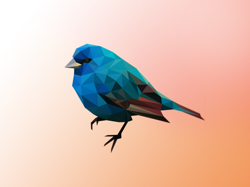 Blue poly bird poly bird mark polygon 3d geometric triangles bird logo blue poly