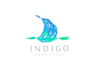 Indigo logo bird building fly valley green triangle poly lowpoly blue indigo architecture flight