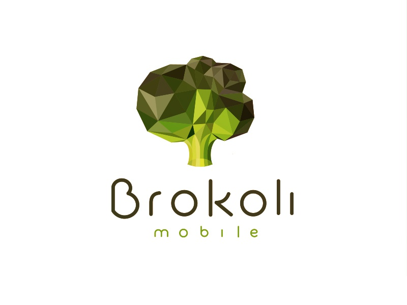 Brokoli Mobile Logo broccoli food mobile logo green polygon poly triangle line geometry lowpoly