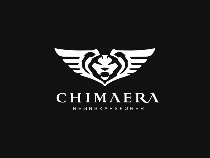 Chimaera Logo goat snake lion wing chimaera myth greek horn negative space