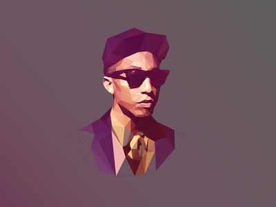 Poly @Pharrell Williams pharrell williams polygon low poly poly portrait glasses triangle delaunay triangulation