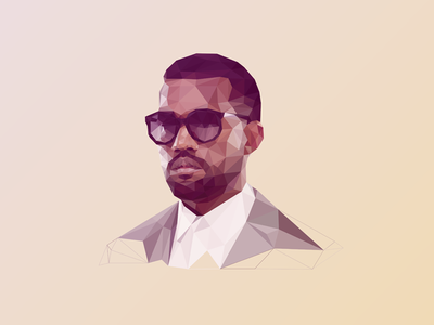 Poly Kanye @Kanyewest  yeezus kanye west kanye west portrait polygon poly low poly triangle delaunay triangulation