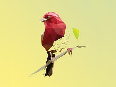 Vermei Poly Bird Logo polygon triangulation lowpoly bird red vermei geometric delaunay