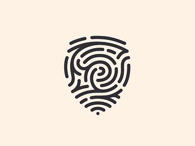 Fingerprint Shield badge crest security identity finger print logo path labyrinth maze block lines curves insurance defense protection safe shielt digital fingerprint