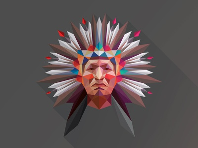 Tribe Poly Indian lowpoly polygon triangulation feather cockade panache tribe tribal indian headdress