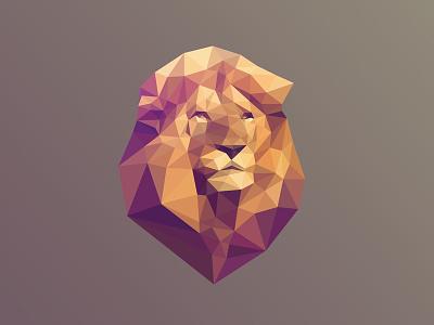 Bleón Poly Lion polygon triangulation lowpoly head lion mane geometric delaunay