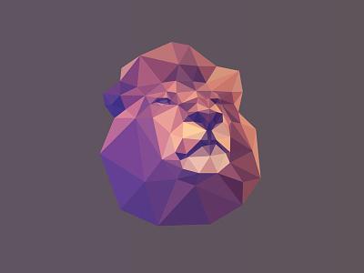Bleón Poly Lion león lion logo polygon lowpoly facets triangulation delaunay mane geometric