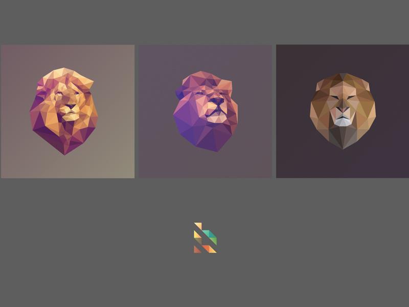 Bleón Logo Poly león lion logo polygon lowpoly facets triangulation delaunay mane geometric