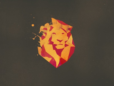 Bleon Logo león lion logo polygon lowpoly facets triangulation delaunay mane geometric watercolor splash