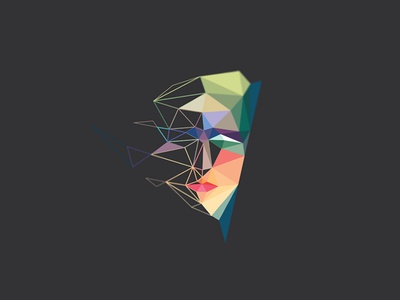 Low Poly Heroine lowpoly lopoly geometric polygon face hero heroin facets mesh portrait bust profile