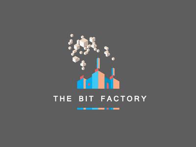 The Bit Factory - Logo bit cubes factory smoke pixel logo chimney startup accelerator