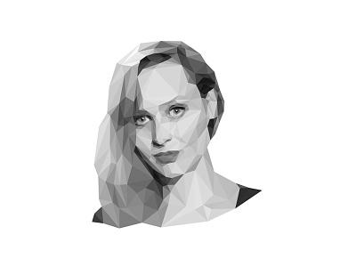 Jen Percy - low poly portrait bw magazine author lowpoly portrait lopoly lowpoly