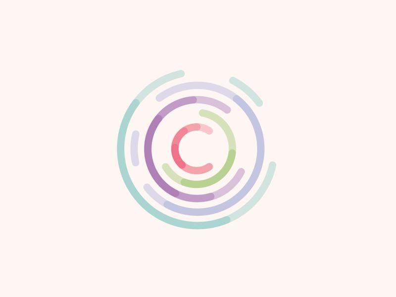 C data logo  circular graph analytics statystics data c