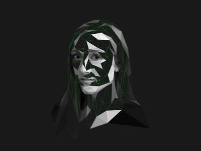 Alex Kay Potter _ Lowpoly portrait photographer bw facets triangulation delaunay triangles portrait low poly lowpoly