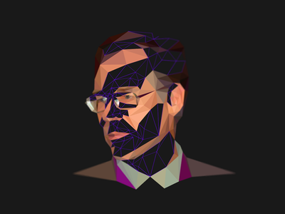 Kevin Stanley Robinson _ Lowpoly portrait american writer facets triangulation delaunay triangles portrait low poly lowpoly
