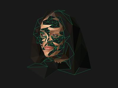 Jesmyn Ward _ Lowpoly portrait american novelist writer facets triangulation delaunay triangles portrait low poly lowpoly