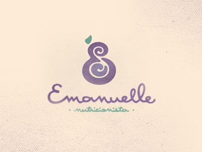 Emanuelle Logo emanuelle e s negative space nutrition fruit purple leaf food script seed logo mark nutricionista monogram vegetable