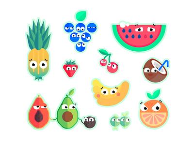 FruityGang orange coconut lemon avocado papaya banana watermelon cherry strawberry grape pineapple fruits