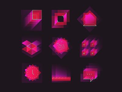 Square & gradient square plasma transparency lines gradient symbols icon-set icon