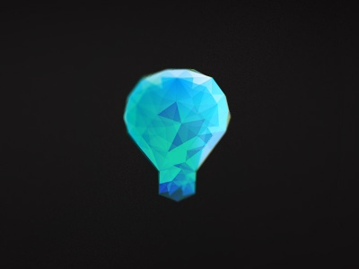 Prismatic Ideas Logo prismatic web design development prism poly poligon lightbulb balloon ideas facet logo mark blue