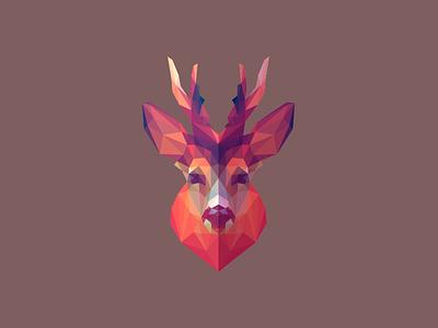 Roebuck symmetry lowpoly deer head deer illustration antilope deer roebuck