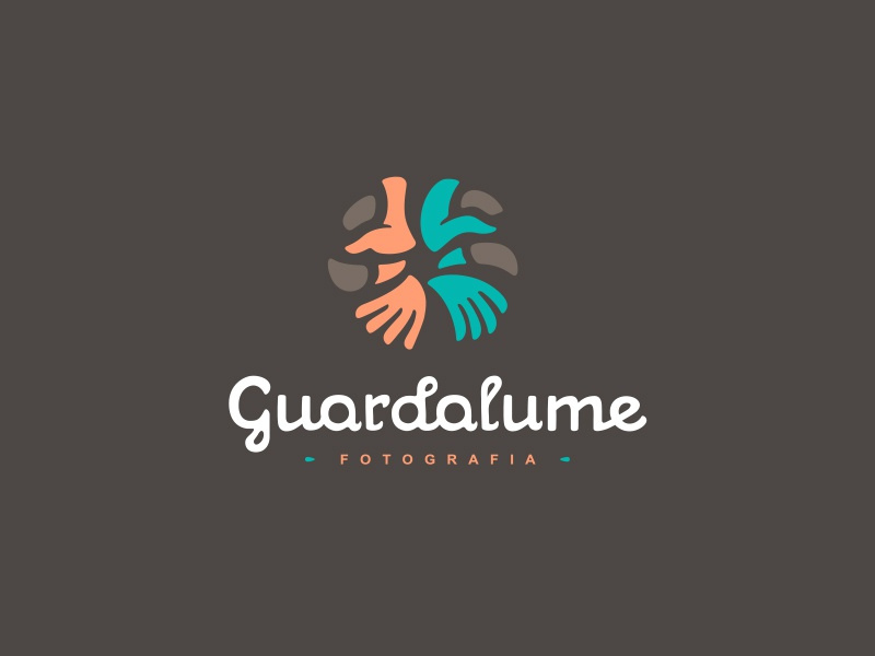 Guardalume Final Logo photography photo shutter hands lumen brazil logo spiral script typography