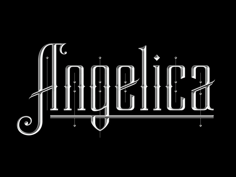 Angelica typography lettering custom gothic letterforms