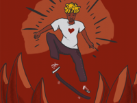 Juto skateboarding illustration