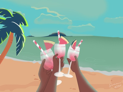 My summer summer holiday ui illustrator beach cheer summer party summer