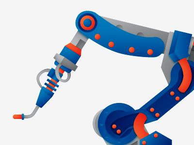 Welding Robot robot illustration arm welding four clouds construction vector