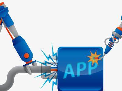 App Building Bots app arm arms blue building claw four clouds icon illustration robot robots vector welding