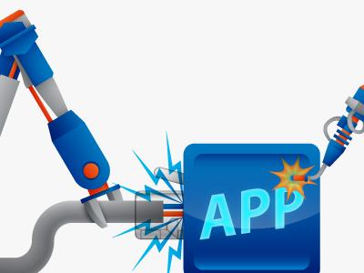 App Building Bots Revision app arm arms blue building claw four clouds icon illustration robot robots vector welding