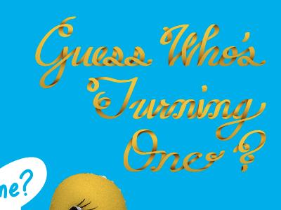 Nathan's 1st Birthday typography ribbon hand-drawn type stationery invitation