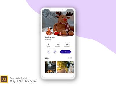 User profile ux dailyui 006 app ui challenge design illustrator