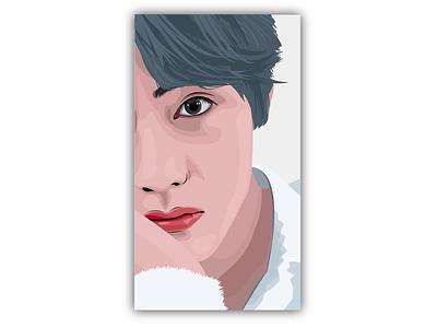 Taehyung artwork face design face face illustration bts v bts singer artist art vector illustration design illustrator