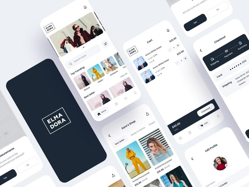 Elma Dora Fashion App ecommerce trending trend clothing clothing brand clothes brand fashion app fashion delivery order cart mobile ios ui app ux design design ui design