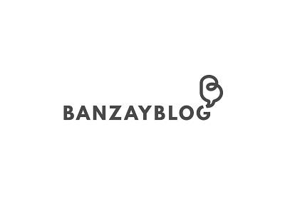 Banzay blog chat sign typo mark logotype play unpacking talk bubble video blog logo