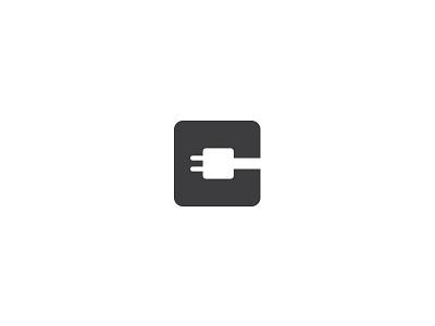 Letter C logotype. negative plug rosette socket power wire connect clean minimal c letter