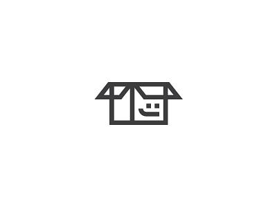 Bon debarras carton face line logo home shop buy sell smile box