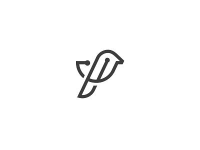 Bird Logo connect it web pattern technology tech fly clean minimal line logo bird
