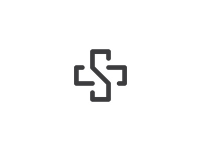 Letter S • Medical cross hospital health care service line minimal logo medical clinic cross letter s