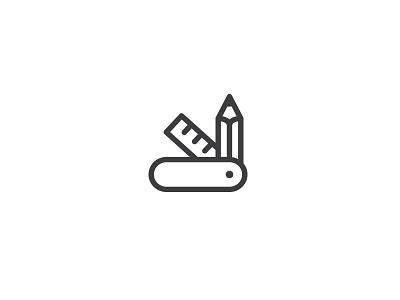 Creative Knife symbol swiss design logo rule draw art pencil agency creative knife army